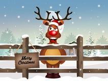 Reindeer at Christmas in winter landscape. Illustration of reindeer at Christmas in winter landscape Royalty Free Illustration