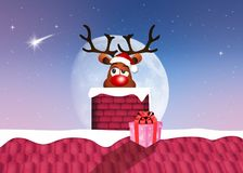 Reindeer in the fireplace Royalty Free Stock Images