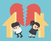 Illustration Relationship Divorce,division of property Stock Images