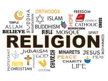 Religion word background Royalty Free Stock Photos