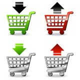 Remove or add to cart. Illustration of remove or add to cart icons Royalty Free Stock Images