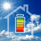 Illustration with renewable energy and energy storage device stock photography