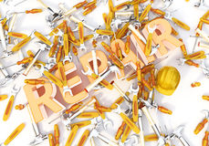 Illustration of repair. Word repair on the white background stock illustration