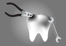 Illustration of repair a tooth decay on grey background Royalty Free Stock Images