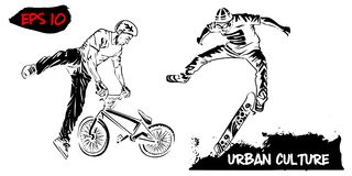 Illustration with representatives of Urban Culture. BMX rider and skater isolated on white background. Extreme theme modern print. Royalty Free Stock Photography
