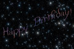 Happy Birthday stars. Illustration representing gift greeting cart composed of multi-coloured inscription `Happy Birthday!` and dark black sky covered by vector illustration