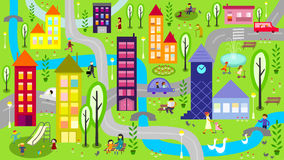 Colorful city with river and roads. Illustration represents colorful city scene at daytime with river, buildings, cars, roads, children playing and people Stock Images