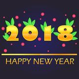 2018 happy new year. This illustration represents a gold 2018 and happy new year, with some holly leaves and berries Royalty Free Stock Photo