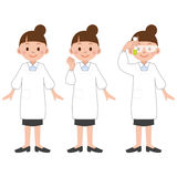 Illustration of Researcher women. Vector illustration.Original paintings and drawing Stock Images