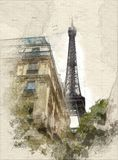 Paris and the Eiffel tower. Illustration of Residential area of Paris close to the Eiffel Tower royalty free stock image