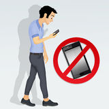 Restrictions on cell phone Stock Image