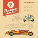 Illustration: Retro- Auto, Horch, Weinleseautomobil stock abbildung