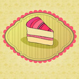 Illustration of retro cake card Stock Photography