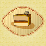 Illustration of retro cake card Royalty Free Stock Image
