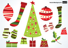 Illustration of retro christmas symbols Stock Photos