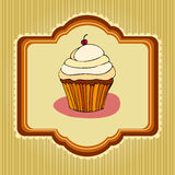 Illustration of retro cupcake card Royalty Free Stock Photo