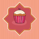 Illustration of retro cupcake card Stock Photo