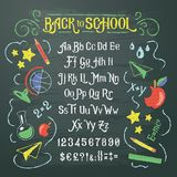 Illustration of retro font, capital letters, numbers and symbols in white and color chalk. Illustration of retro font, capital letters, numbers and symbols vector illustration