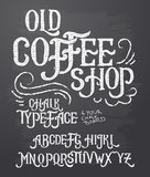 Illustration of retro font, capital letters written in white chalk on a blackboard. Template, design element for a signboard, advertising of coffee shop stock illustration