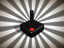 Retro games controller. Illustration of a retro games controller over  a starburst background Royalty Free Stock Photos