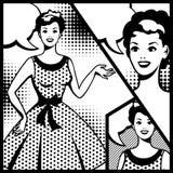 Illustration of retro girl in pop art style Stock Image