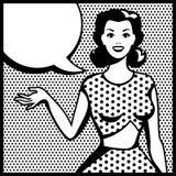 Illustration of retro girl in pop art style Stock Photo