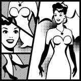 Illustration of retro girl in pop art style Royalty Free Stock Photo