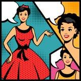 Illustration of retro girl in pop art style Stock Photography