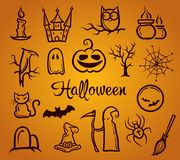 Illustration of retro graphical composition with. Illustration of vector retro graphical composition with Halloween elements Stock Photography