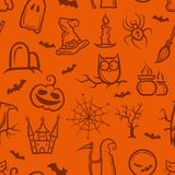 Illustration of retro graphical Halloween pattern Stock Photo