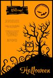 Illustration of retro graphical poster with. Illustration of vector retro graphical poster with Halloween elements Royalty Free Stock Photo
