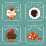Illustration - Retro illustration with tea, cupcakes and a cup o Royalty Free Stock Photo