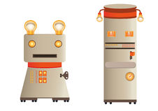 Illustration - retro robots figures (characters) Stock Photography