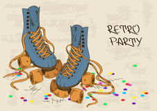 Illustration with retro roller skates Stock Images