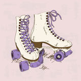 Illustration with retro roller skates vector illustration