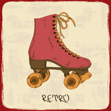 Illustration with retro roller skates Stock Photos