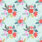 Red roses and flowers on vintage color. vector illustration