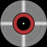 Retro vinyl disk background. Illustration of a retro vinyl disk with black, white and red circles on a black background Royalty Free Illustration