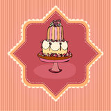 Illustration of retro wedding cake card Stock Photo
