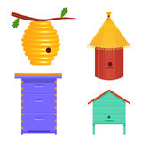 Illustration réglée de vecteur de ruche ruche d'isolement sur le fond blanc Images stock