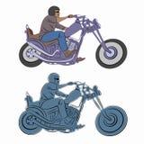 Illustration of rider on motorbike , vector drawing stock photo