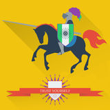Illustration with riding on horseback brave knight made in the t Royalty Free Stock Photo
