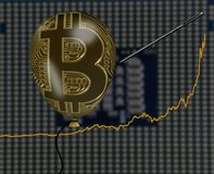 Illustration of bitcoin price bubble using balloon. Illustration of the rise in price of bitcoins and digital currency using a balloon to show price inflation Royalty Free Stock Photography