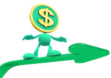 Illustration of the Rising Dollar. Dollar Coin-Man sliding up on the green trend arrow. 3D rendered image stock illustration
