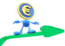 Illustration of the Rising Euro. Euro Coin-Man sliding up on the green trend arrow. 3D rendered image stock illustration