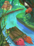 Illustration: River in Forest, Jungle. Royalty Free Stock Images