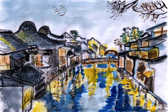 Illustration The river village wuzhen Royalty Free Stock Photos