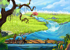 Illustration: The Riverside. Tree, Flowery Fields, and Bridge. Stock Photo