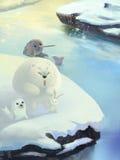 Illustration : Rivière de glace de neige, ours blanc, phoque d'or, éléphant Unicorn Seal Illustration Stock