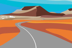 Illustration of the road and natural volcanic landscape Royalty Free Stock Photography